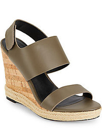Olive Leather Wedge Sandals
