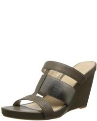 Calvin Klein Dunley Glzd Calf Met Elastic Wedge Sandal