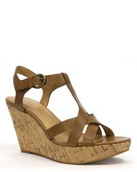 Tahari Sarah Leather Sandal Wedges