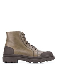 Brunello Cucinelli Contrast Panel Lace Up Boots