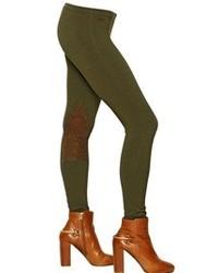 Polo Ralph Lauren Jodhpur Cotton Jersey Leather Leggings