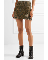 4416c26f5 ... R 13 R13 Distressed Leopard Print Denim Mini Skirt Leopard Print ...