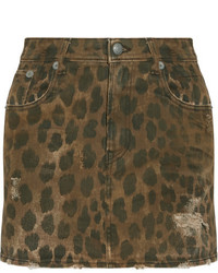 R13 distressed leopard print denim mini skirt leopard print medium 4393623