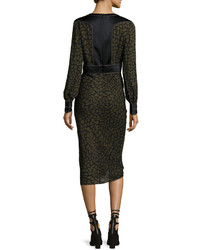098febc5b ... Veronica Beard Drifter Long Sleeve Silk Animal Print Midi Dress Green  ...
