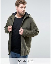 Asos Plus Lightweight Parka Jacket In Khaki