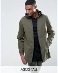 Asos Tall Lightweight Parka Jacket In Khaki
