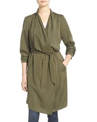 Kensie Belted Drape Front Trench Coat