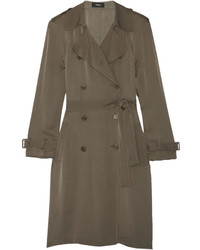 Laurelwood silk crepe de chine trench coat army green medium 696907