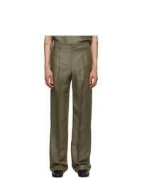 Carlota Barrera Khaki Tailored Topstitch Trousers
