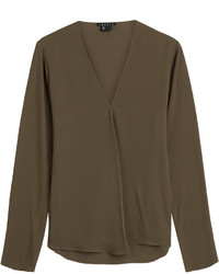 Theory Draped Silk Blouse