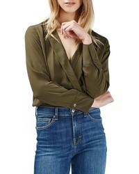 Topshop Faux Wrap Shirt Bodysuit