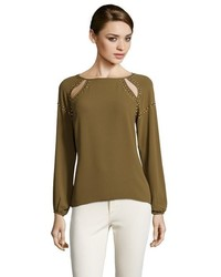 Greylin Olive Chiffon Studded Cut Out Long Sleeve Blouse