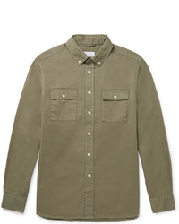 Saturdays Nyc Angus Button Down Collar Broken Cotton Twill Shirt