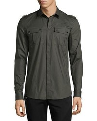 Versace Collection Embellished Epaulet Military Shirt Army Green