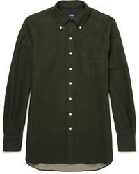 Drakes Drakes Button Down Collar Brushed Cotton Shirt