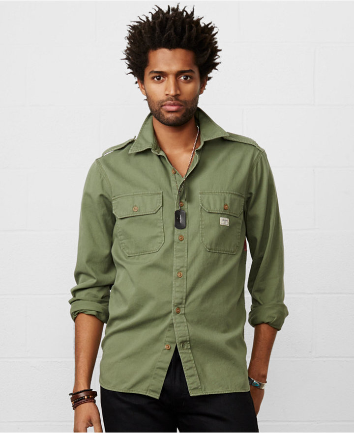 schöne Schuhe kaufen UK-Shop $98, Denim & Supply Ralph Lauren Flag Back Military Shirt