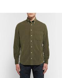 GITMAN Button-down Collar Cotton-corduroy Shirt - Burgundy 6VxrAqlZP