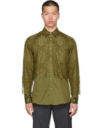 Burberry Green Cotton Lace Overlay Shirt