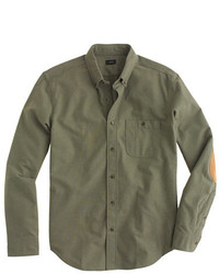 J.Crew Heathered Chamois Elbow Patch Shirt