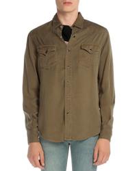 Saint Laurent Long Sleeve Western Style Shirt Khaki