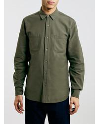 Topman Ltd Olive Herringbone Long Sleeve Shirt