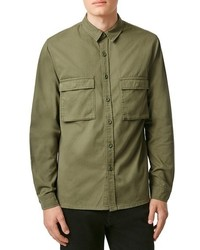 Topman Olive Twill Military Overshirt