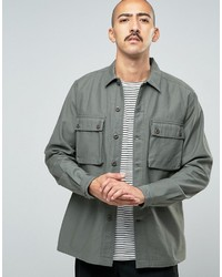 Asos Overshirt With 2 Pockets In Khaki