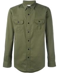 Saint Laurent Slim Fit Military Style Shirt