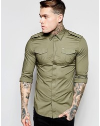Diesel Shirt S Haul Slim Fit Military Poplin In Green