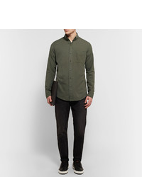 Tom Ford Slim Fit Button Down Collar Cotton And Cashmere Blend Twill Shirt