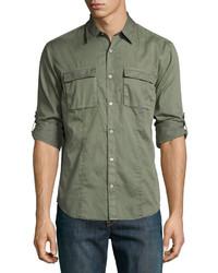 John Varvatos Star Usa Chino Roll Tab Utility Shirt Olive
