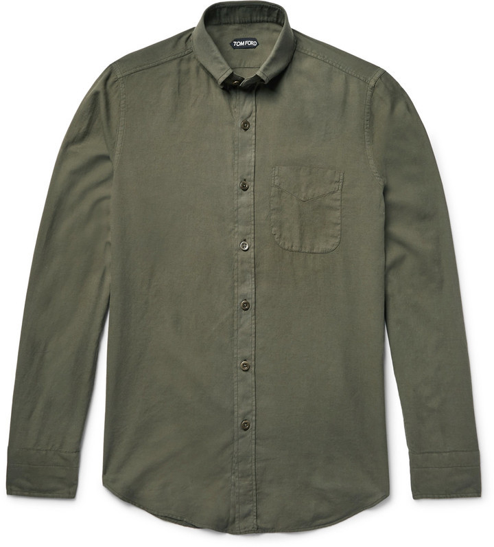 0360d77fc8cd35 TOM FORD Slim-Fit Button-Down Collar Cotton and Cashmere-Blend Twill Shirt