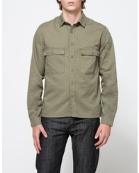 Topman Olive Double Pocket Shirt