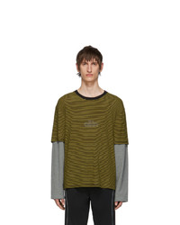 all in Black And Yellow Striped Long Sleeve T Shirt