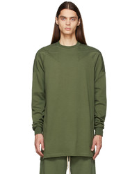 Rick Owens Green Baseball Sweatshirt