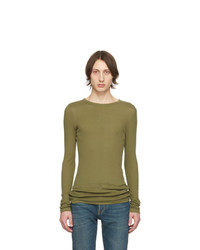 Saint Laurent Khaki Ribbed Jersey T Shirt