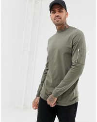 ASOS DESIGN Long Sleeve T Shirt With Ma1 Zip Sleeve Pocket In Khaki