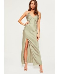 Green silky plunge maxi dress medium 3647280