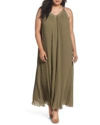 Plus size michl michl kors pleat grommet maxi dress medium 4154638