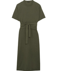 Ivana tie front cotton jersey midi dress army green medium 3701210