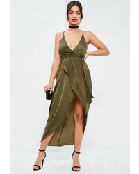 Missguided Khaki Silky Plunge Asymmetric Wrap Midi Dress