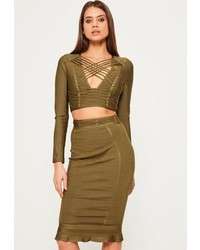 Missguided green premium bandage eyelet criss cross waist peplum midi skirt medium 1253083