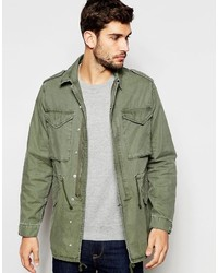 Asos Brand Military M65 Jacket With Drawstring In Khaki