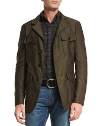 Tom Ford Corded Lightweight Military Jacket Olive