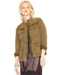 Free People Banded Collar Rumpled Army Jacket