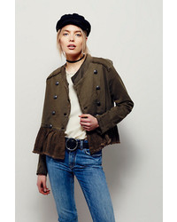 Free People Flared Hem Military Jacket