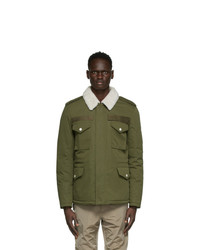 Yves Salomon Army Green Down And Shearling Jacket