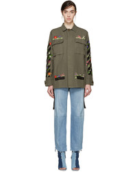 Off-White Green Embroidered Military Jacket