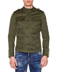 DSQUARED2 Large Button Military Jacket Olive
