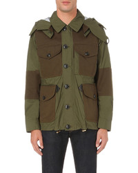 Burberry Military Inspired Shell And Twill Jacket